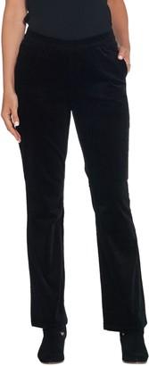 Denim & Co. Petite Stretch Corduroy Pull- On Lightly Bootcut Pants