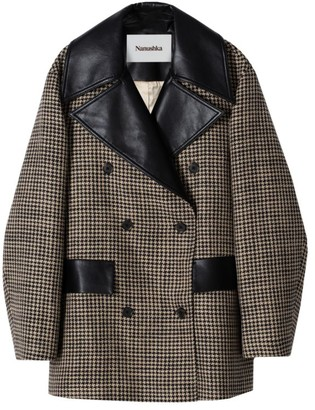 Nanushka Tommi Houndstooth Vegan Leather Coat