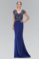 Elizabeth K - Short Sleeve V-neckline Jersey Gown GL1370