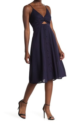 Hyfve Front Twist Button Down Flare Dress