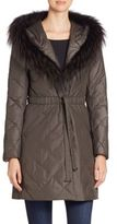 The Fur Salon Fox Fur-Trimmed Quilted Puffer Coat