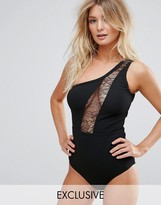 Wolfwhistle Wolf & Whistle Lace Insert One Shoulder Swimsuit B-F Cup