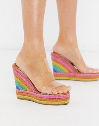 Kurt Geiger Ariana rainbow wedge mule sandal