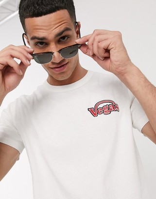 Selected organic cotton Vegas embroidered t-shirt in off white