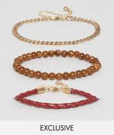Designb London Red Beaded Bracelet Pack In 3 Pack Exclusive To Asos