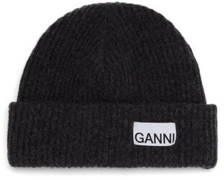 Ganni Logo-patch Ribbed Wool-blend Beanie - Grey