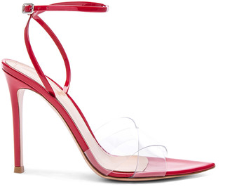 Gianvito Rossi Patent & Plexi Stark Ankle Strap Sandals in Transparent & Tabasco Red | FWRD