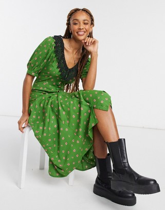 ASOS DESIGN button-through midi tea dress with crochet peter pan collar in fun floral print