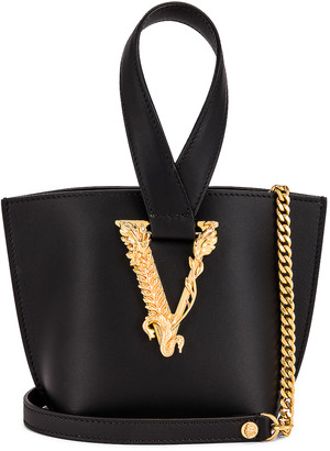 Versace Tribute Leather Bag in Black & Gold | FWRD