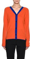 Marni Contrast-Trim V-Neck Cashmere-Blend Cardigan, Orange