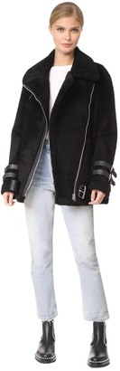 Acne Studios Velocite Black Shearling Leather Jacket for Women