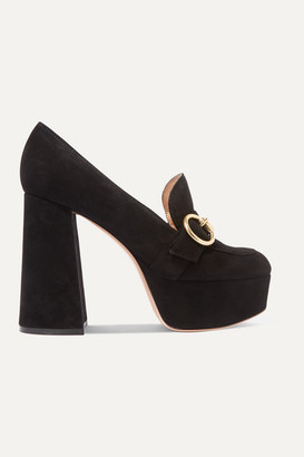 Gianvito Rossi 110 Suede Platform Pumps - Black