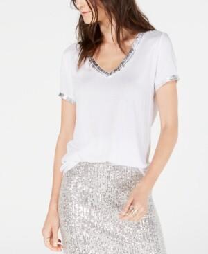 INC International Concepts Inc Metallic-Trim T-Shirt, Created for Macy's
