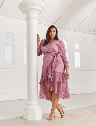 Forever New Sara Curve Ruffle Sleeved Wrap Dress - Ruby Winter Speckle - 16