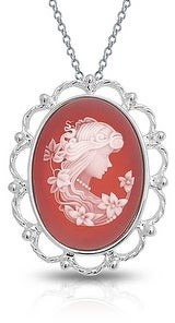 Bling Jewelry Terracotta Oval Mothers Cameo Brooch Pin Pendant 925 Sterling Silver