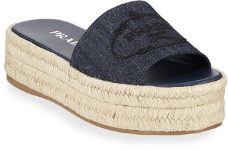 Prada Denim Logo Espadrille Slide Sandals