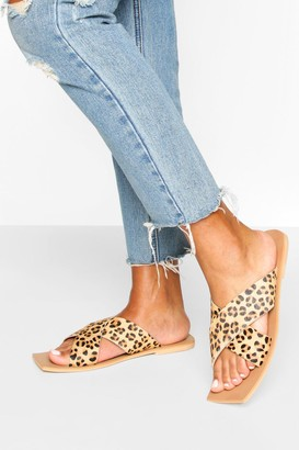 boohoo Leather Leopard Cross Strap Square Toe Slides