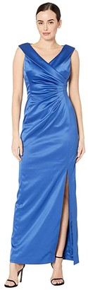 Tahari ASL Stretch Satin Side Draped Long Gown (Cerulean Blue) Women's Dress