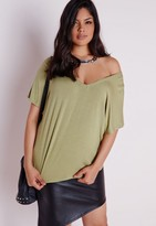 Missguided Plus Size V Neck T-Shirt Khaki