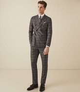 Reiss Trinity - Checked Double Breasted Suit in Charcoal