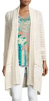 Johnny Was Long Crochet Open Jacket, Natural, Plus Size