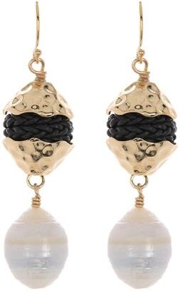 Akola Lanna Baroque Pearl & Leather Drop Earrings