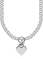 Ice Sterling Silver Rolo Chain with a Heart Toggle Charm and Rhodium Plating