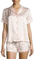 Natori Geo-Print Shortie Pajama Set, Ivory/Blush Geo
