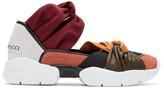 Emilio Pucci Orange & Grey Colorblock Knot Slip-On Sneakers