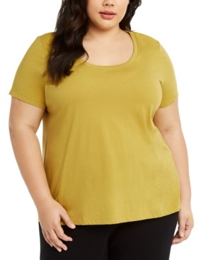 Eileen Fisher Plus Size Cotton U-Neck T-Shirt