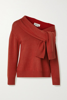 Monse Asymmetric Tie-front Merino Wool Sweater - Brick