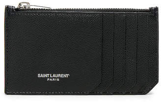 Saint Laurent Zipped Fragments Credit Card Case in Black | FWRD