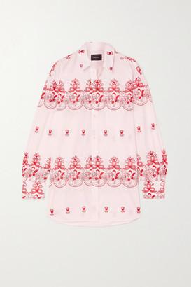Simone Rocha Oversized Embroidered Cotton-poplin Shirt - Pink