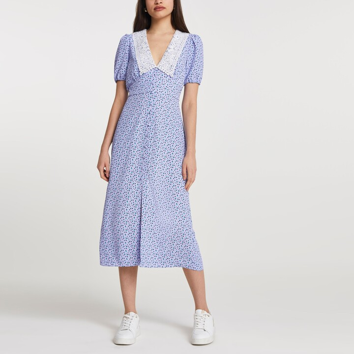 Thumbnail for your product : River Island Womens Blue floral print collar midi dress