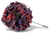 Etro Patterned Silk-faille Flower Lapel Pin - Purple