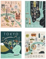 Rifle Paper Co. City Map Card Set - Assorted