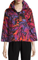 Caroline Rose Samba Printed Zip-Front Jacket, Multi/Black, Plus Size