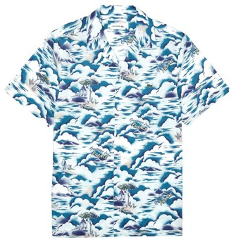 Lacoste Regular-Fit Short-Sleeve Graphic Print Button-Down Shirt