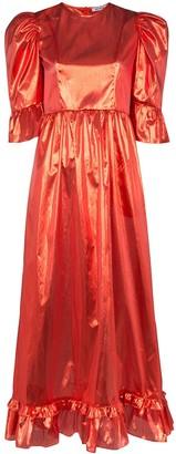 Batsheva Prairie metallic puff-sleeve dress