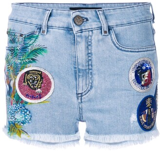 Mr & Mrs Italy Patched Denim Shorts