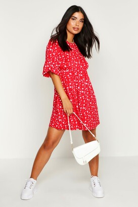 boohoo Petite Ditsy Floral Smock Dress