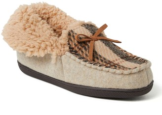 Dearfoams Women's Marley Plaid Woven Quilted Moccasin Slippers