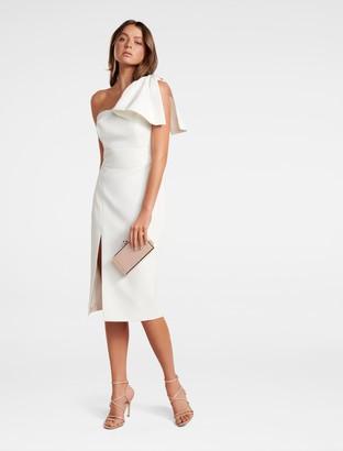 Forever New Bessy One-Shoulder Bow Dress - Porcelain - 6