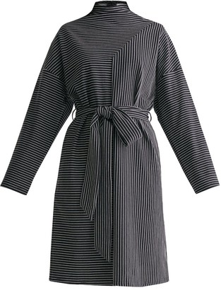 Paisie Deconstructed Stripes Dress With Self Belt In Black & White