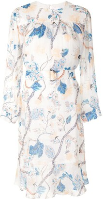 Chloé Floral Print Belted Shift Dress