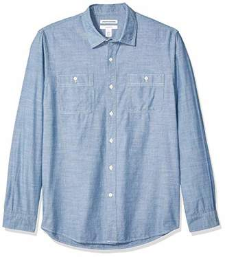 Amazon Essentials Men's Standard Slim-Fit Long-Sleeve Chambray Shirt
