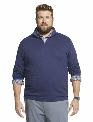 Geoffrey Beene Men's Big & Tall Big Long Sleeve Stretch Twill 1/4 Zip Pullover