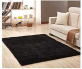 """Ultra Soft Bedroom Carpet,Decorative Sitting Room Shaggy Area Rug, Fluffy Kids Playing Pad with Anti-Slip Bottom,Water Absorbent & Quick Dry Bath Rug (Black,23"""" x 47"""")"""