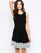 Wal G Skater Dress With Lace Panel