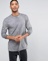 Asos Linen Look Longline Long Sleeve T-Shirt With Oil Wash And Drawstring Hem